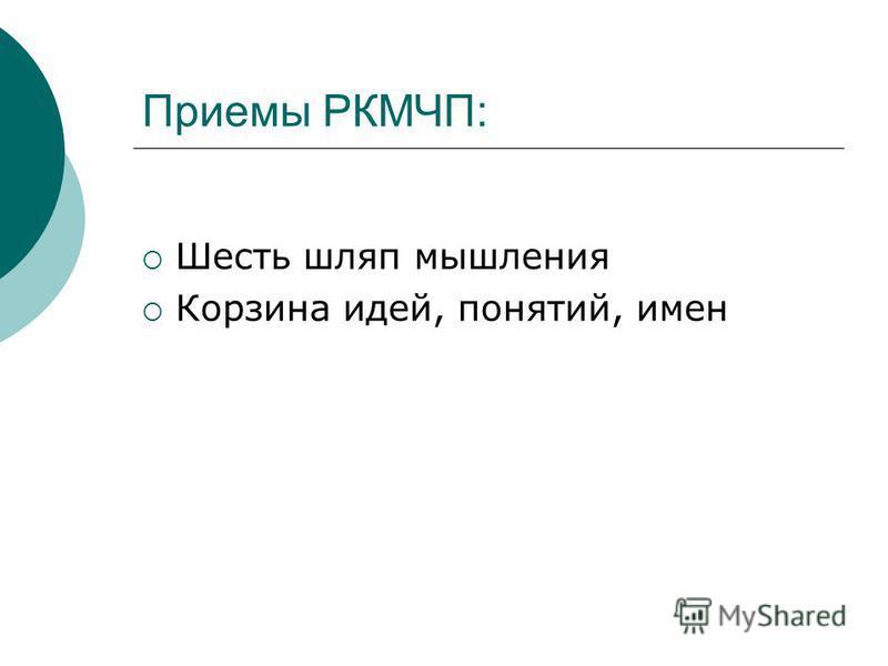 Приемы РКМЧП: Шесть шляп мышления Корзина идей, понятий, имен