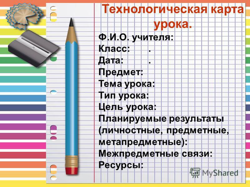 Технологическая карта урока.