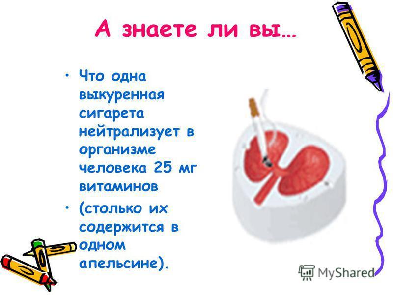 А знаете ли вы… Что одна выкуренная сигарета нейтрализует в организме человека 25 мг витаминов (столько их содержится в одном апельсине).