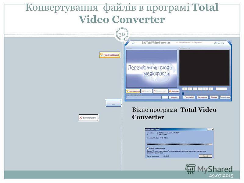 Конвертування файлів в програмі Total Video Converter 29.07.2015 30 Вікно програми Total Video Converter