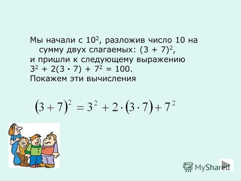Мы начали с 10 2, разложив число 10 на сумму двух слагаемых: (3 + 7) 2, и пришли к следующему выражению 3 2 + 2(3 · 7) + 7 2 = 100. Покажем эти вычисления