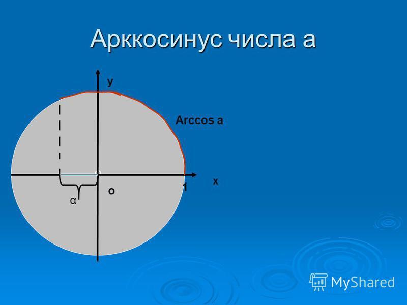 Арккосинус числа а О х у о 1 Arccos a α