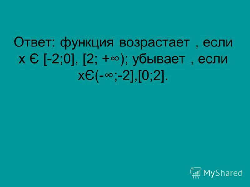 Ответ: функция возрастает, если х Є [-2;0], [2; +); убывает, если хЄ(-;-2],[0;2].