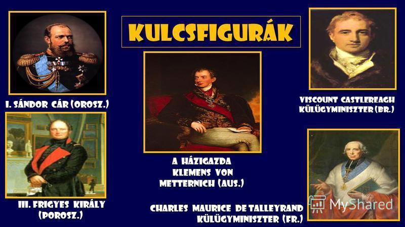 Kulcsfigurák A házigazda Klemens von Metternich (Aus.) Viscount Castlereagh külügyminiszter (Br.) Viscount Castlereagh külügyminiszter (Br.) i. Sándor cár (orosz.) III. Frigyes király (Porosz.) III. Frigyes király (Porosz.) Charles Maurice de Talleyr