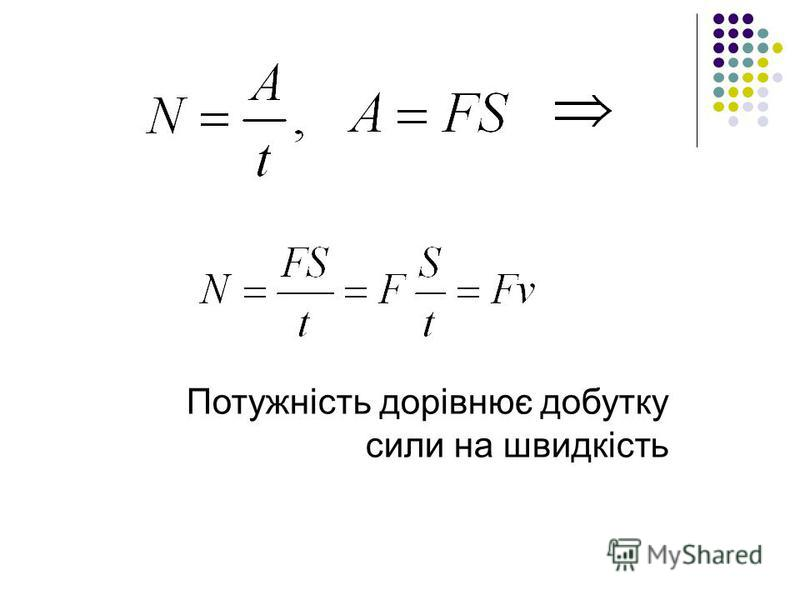 Потужність дорівнює добутку сили на швидкість