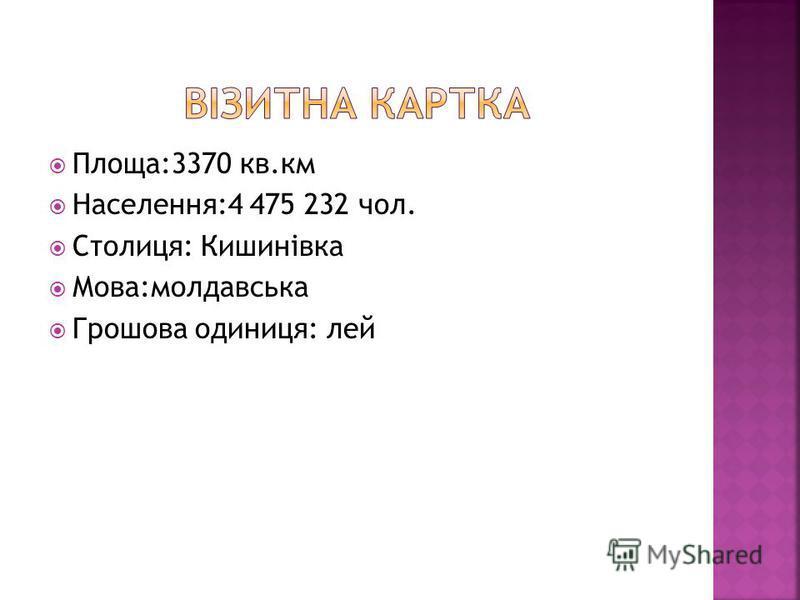 Площа:3370 кв.км Населення:4 475 232 чол. Столиця: Кишинівка Мова:молдавська Грошова одиниця: лей