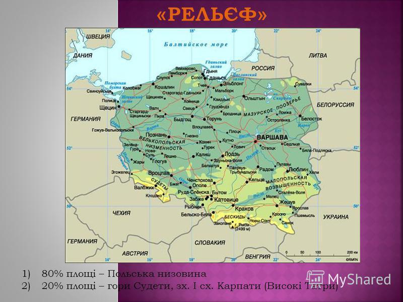 1)80% площі – Польська низовина 2)20% площі – гори Судети, зх. І сх. Карпати (Високі Татри)