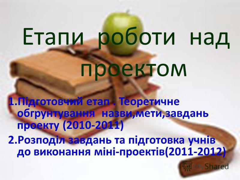 Етапи роботи над проектом 1.Підготовчий етап. Теоретичне обгрунтування назви,мети,завдань проекту (2010-2011) 2.Розподіл завдань та підготовка учнів до виконання міні-проектів(2011-2012)