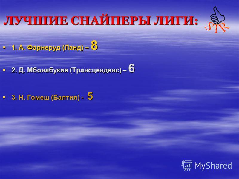 ЛУЧШИЕ СНАЙПЕРЫ ЛИГИ: 1. А. Фарнеруд (Ланд) – 8 2. Д. Мбонабукия (Трансценденс) – 6 3. Н. Гомеш (Балтия) - 5