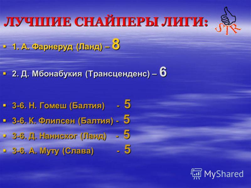 ЛУЧШИЕ СНАЙПЕРЫ ЛИГИ: 1. А. Фарнеруд (Ланд) – 8 2. Д. Мбонабукия (Трансценденс) – 6 3-6. Н. Гомеш (Балтия) - 5 3-6. К. Флипсен (Балтия) - 5 3-6. Д. Наннског (Ланд) - 5 3-6. А. Муту (Слава) - 5