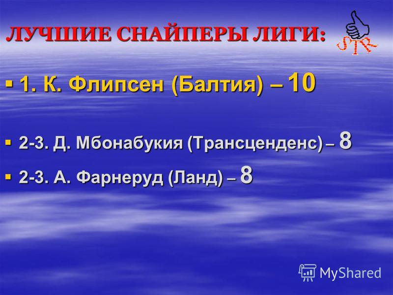 ЛУЧШИЕ СНАЙПЕРЫ ЛИГИ: 1. К. Флипсен (Балтия) – 10 2-3. Д. Мбонабукия (Трансценденс) – 8 2-3. А. Фарнеруд (Ланд) – 8