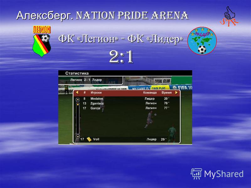 Алексберг. Nation PRIDE ARENA ФК « Легион » - ФК « Лидер » ФК « Легион » - ФК « Лидер » 2:1 2:1