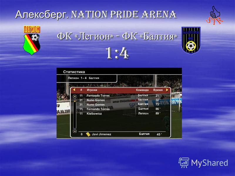 Алексберг. Nation PRIDE ARENA ФК « Легион » - ФК « Балтия » ФК « Легион » - ФК « Балтия » 1:4 1:4