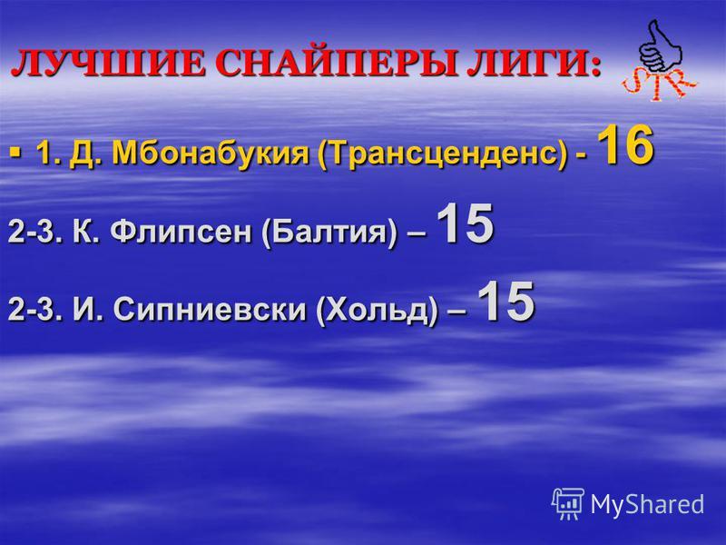 ЛУЧШИЕ СНАЙПЕРЫ ЛИГИ: 1. Д. Мбонабукия (Трансценденс) - 16 2-3. К. Флипсен (Балтия) – 15 2-3. И. Сипниевски (Хольд) – 15