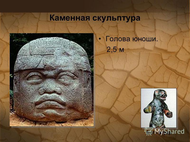 Каменная скульптура Голова юноши. 2,5 м Бог - ягуар