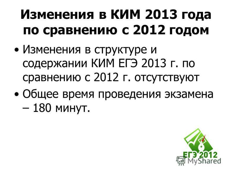Изменения в КИМ 2013 года по сравнению с 2012 годом Изменения в структуре и содержании КИМ ЕГЭ 2013 г. по сравнению с 2012 г. отсутствуют Общее время проведения экзамена – 180 минут.