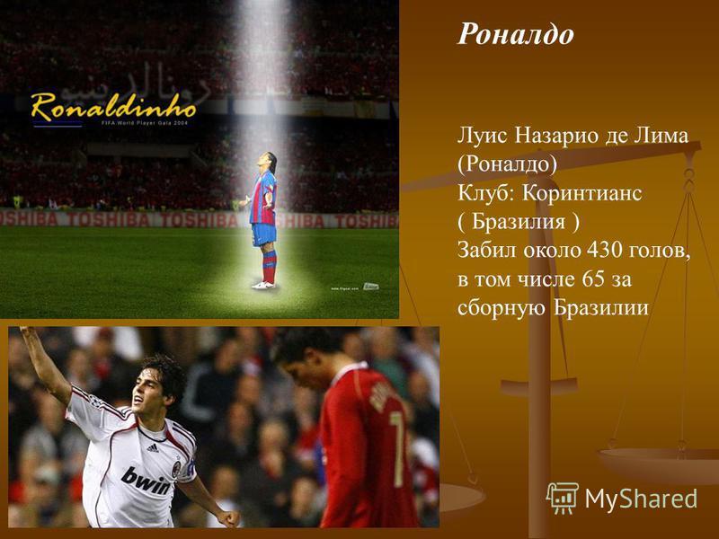 Роналдо Луис Назарио де Лима (Роналдо) Клуб: Коринтианс ( Бразилия ) Забил около 430 голов, в том числе 65 за сборную Бразилии