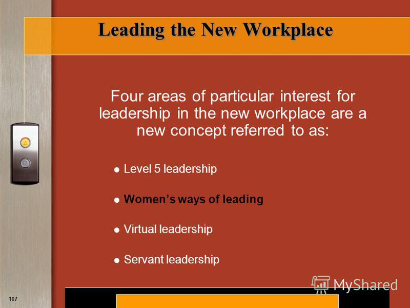 Copyright © 2008 by South-Western, a division of Thomson Learning. All rights reserved. 107 Leading the New Workplace Four areas of particular interest for leadership in the new workplace are a new concept referred to as: Level 5 leadership Womens wa
