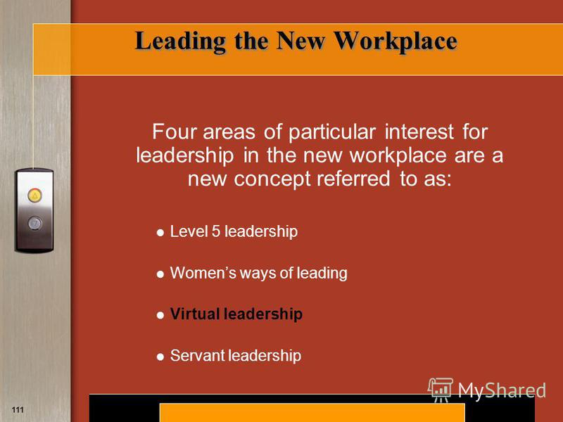 Copyright © 2008 by South-Western, a division of Thomson Learning. All rights reserved. 111 Leading the New Workplace Four areas of particular interest for leadership in the new workplace are a new concept referred to as: Level 5 leadership Womens wa