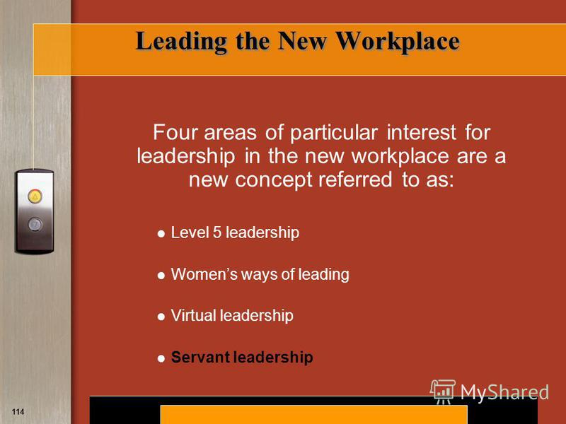 Copyright © 2008 by South-Western, a division of Thomson Learning. All rights reserved. 114 Leading the New Workplace Four areas of particular interest for leadership in the new workplace are a new concept referred to as: Level 5 leadership Womens wa