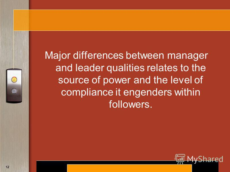 Copyright © 2008 by South-Western, a division of Thomson Learning. All rights reserved. 12 Major differences between manager and leader qualities relates to the source of power and the level of compliance it engenders within followers.