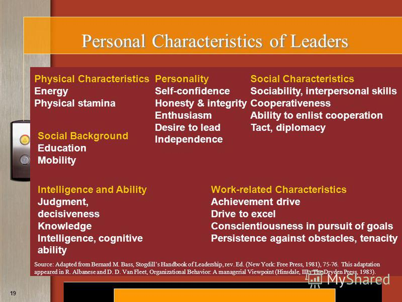 Copyright © 2008 by South-Western, a division of Thomson Learning. All rights reserved. 19 Personal Characteristics of Leaders Physical Characteristics Energy Physical stamina Social Background Education Mobility Intelligence and Ability Judgment, de