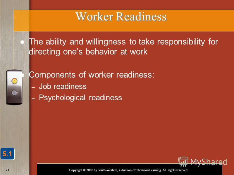 Copyright © 2008 by South-Western, a division of Thomson Learning. All rights reserved. 71 Worker Readiness The ability and willingness to take responsibility for directing ones behavior at work Components of worker readiness: – Job readiness – Psych