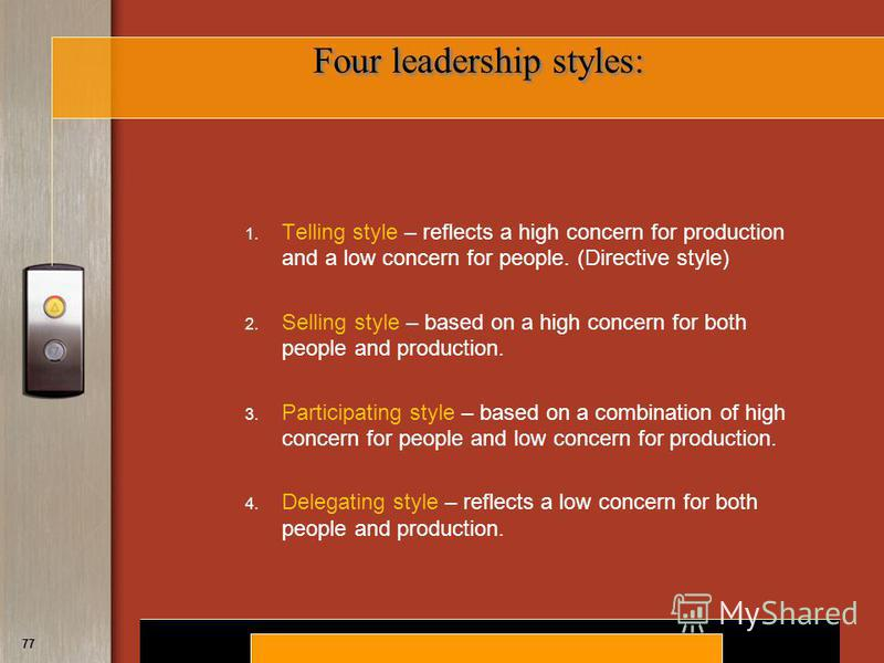 the four leadership styles As the leader of your company, you have your own, unique leadership style if you can learn to manage your own natural style and to adjust it for certain situations, you can maximize your management results in these functional areas six common leadership styles there are six common leadership styles.
