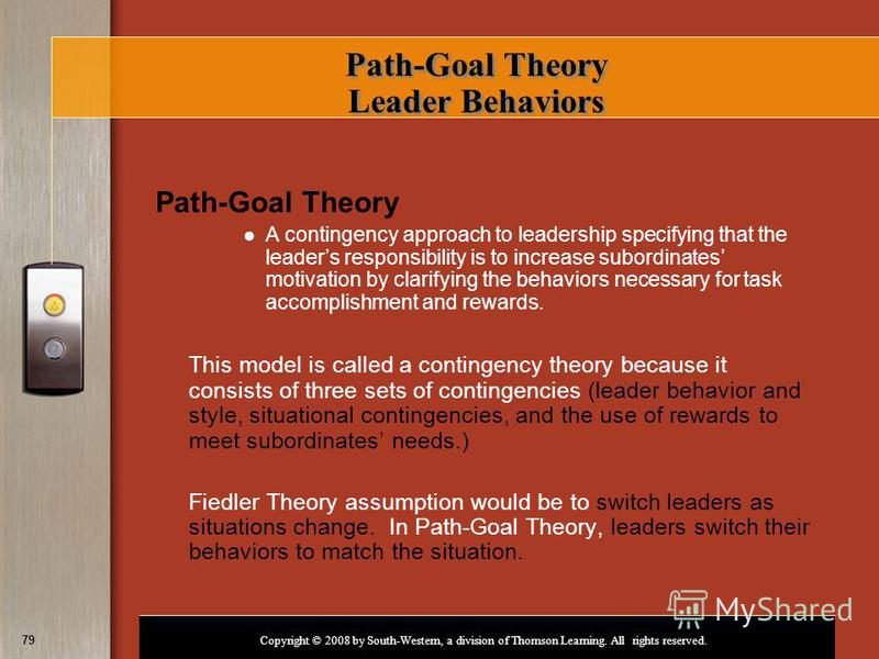 Copyright © 2008 by South-Western, a division of Thomson Learning. All rights reserved. 79 Path-Goal Theory Leader Behaviors Path-Goal Theory A contingency approach to leadership specifying that the leaders responsibility is to increase subordinates
