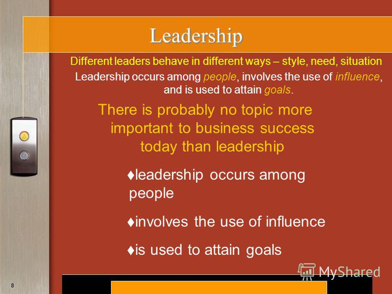 Copyright © 2008 by South-Western, a division of Thomson Learning. All rights reserved. 8 Leadership There is probably no topic more important to business success today than leadership leadership occurs among people involves the use of influence is u