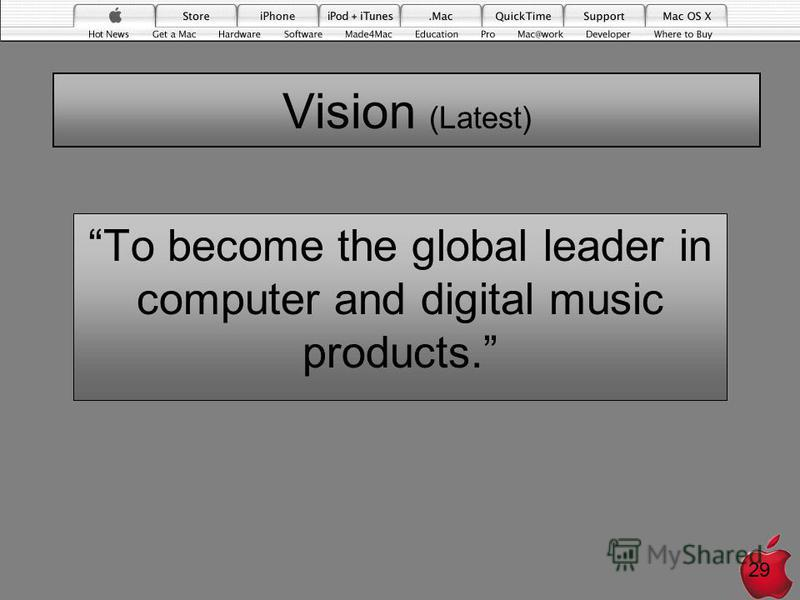 Vision (Latest) To become the global leader in computer and digital music products. 29