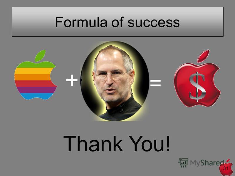 31 Formula of success + = Thank You!