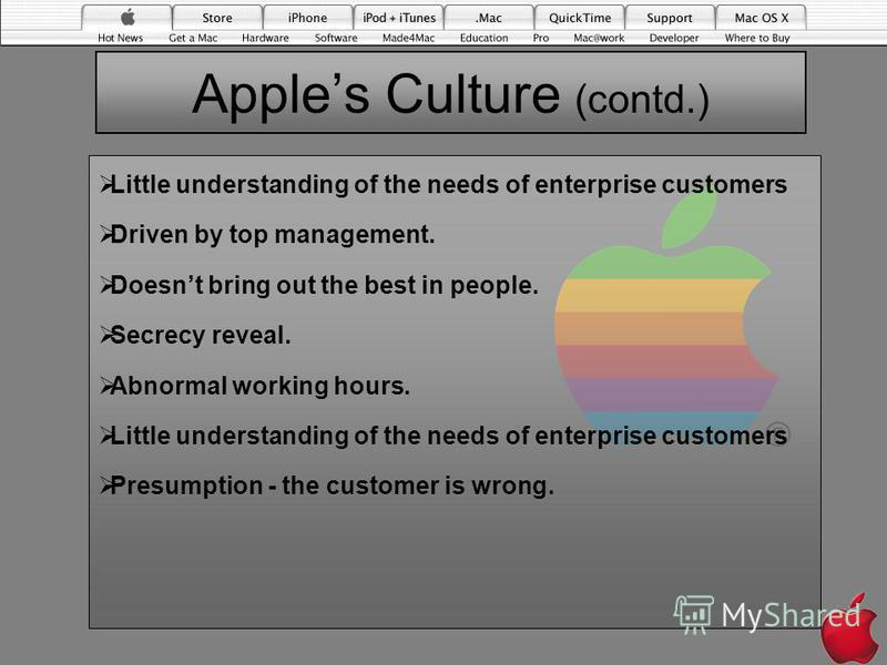 Apples Culture (contd.) Little understanding of the needs of enterprise customers Driven by top management. Doesnt bring out the best in people. Secrecy reveal. Abnormal working hours. Little understanding of the needs of enterprise customers Presump