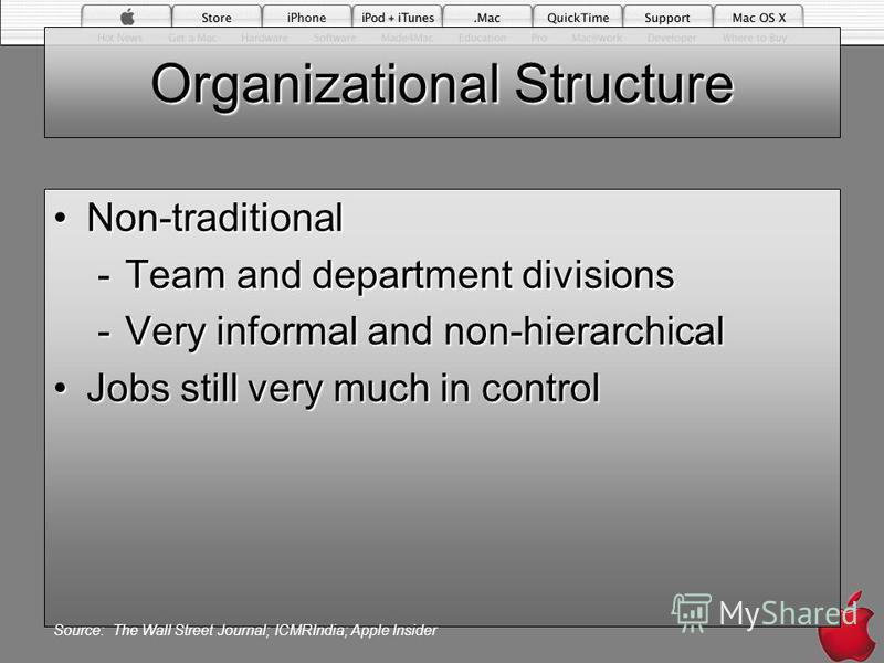Organizational Structure Non-traditionalNon-traditional -Team and department divisions -Very informal and non-hierarchical Jobs still very much in controlJobs still very much in control Source: The Wall Street Journal; ICMRIndia; Apple Insider