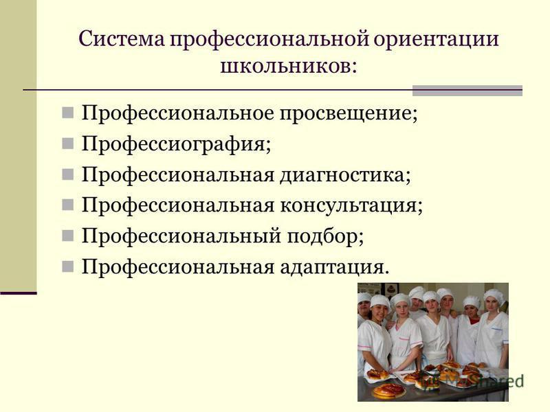 Система профессиональной ориентации школьников: Профессиональное просвещение; Профессиография; Профессиональная диагностика; Профессиональная консультация; Профессиональный подбор; Профессиональная адаптация.