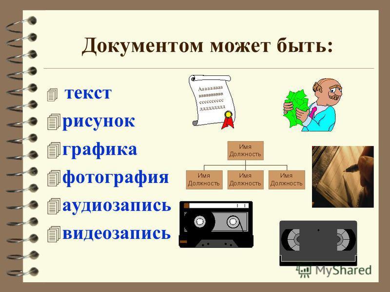 Документом может быть: 4 текст 4 рисунок 4 графика 4 фотография 4 аудиозапись 4 видеозапись Ааааааааа вввввввввв сссссссссс ддддддддд