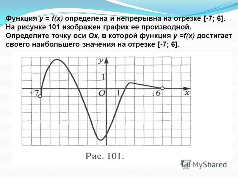 Функция у = f(x) определена и непрерывна на отрезке [-7; 6]. На рисунке 101 изображен график ее производной. Определите точку оси Ох, в которой функция у =f(x) достигает своего наибольшего значения на отрезке [-7; 6].