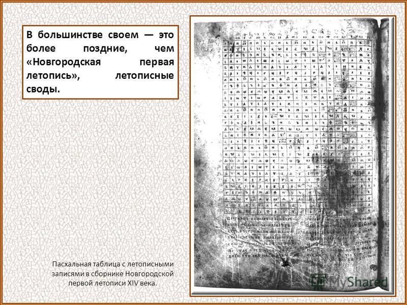 В большинстве своем это более поздние, чем «Новгородская первая летопись», летописные своды. Пасхальная таблица с летописными записями в сборнике Новгородской первой летописи XIV века.