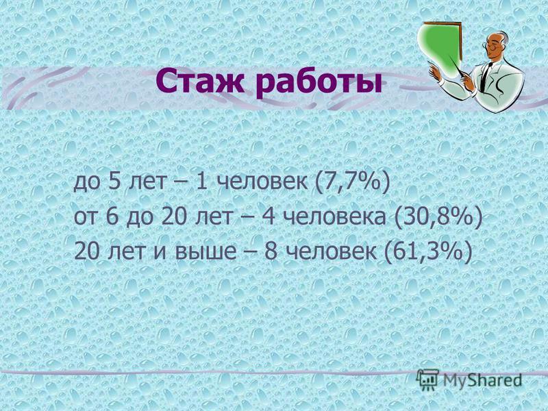 Стаж работы до 5 лет – 1 человек (7,7%) от 6 до 20 лет – 4 человека (30,8%) 20 лет и выше – 8 человек (61,3%)