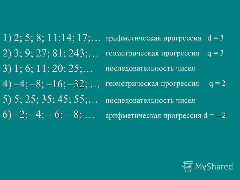 1) 2; 5; 8; 11;14; 17;… 2) 3; 9; 27; 81; 243;… 3) 1; 6; 11; 20; 25;… ––––32 4) –4; –8; –16; –32; … 5) 5; 25; 35; 45; 55;… –2–– 6– 8 6) –2; –4; – 6; – 8; … арифметическая прогрессия d = 3 – 2 арифметическая прогрессия d = – 2 геометрическая прогрессия