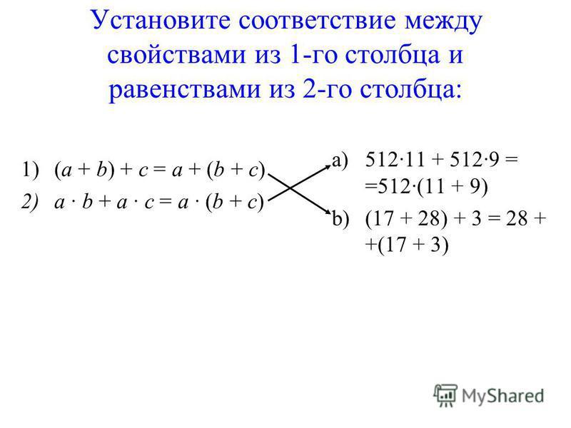Установите соответствие между свойствами из 1-го столбца и равенствами из 2-го столбца: 1)(a + b) + c = a + (b + c) 2)a b + a c = a (b + c) a)51211 + 5129 = =512(11 + 9) b)(17 + 28) + 3 = 28 + +(17 + 3)