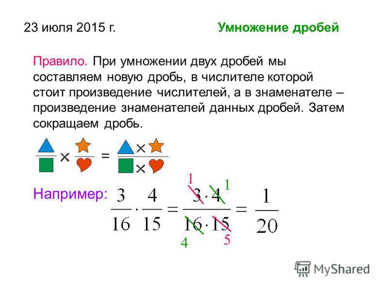 23 июля 2015 г. Умножение дробей Правило. При умножении двух дробей мы составляем новую дробь, в числителе которой стоит произведение числителей, а в знаменателе – произведение знаменателей данных дробей. Затем сокращаем дробь. Например: 1 5 1 4