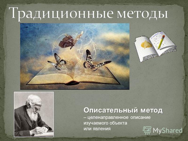 Описательный метод – целенаправленное описание изучаемого объекта или явления