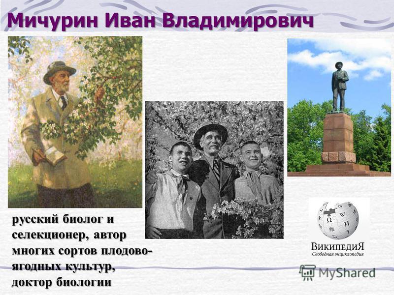 Мичурин Иван Владимирович русский биолог и селекционер, автор многих сортов плодово- ягодных культур, доктор биологии