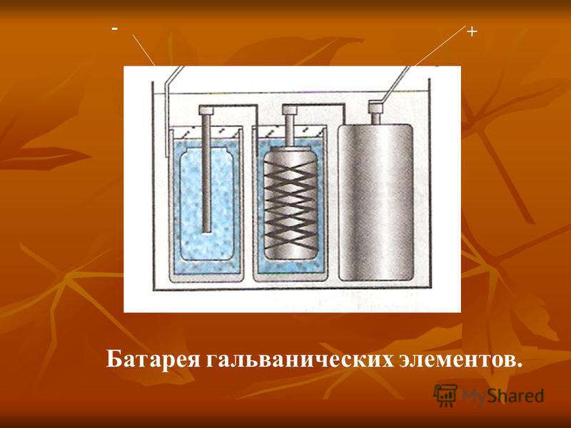 - + Батарея гальванических элементов.