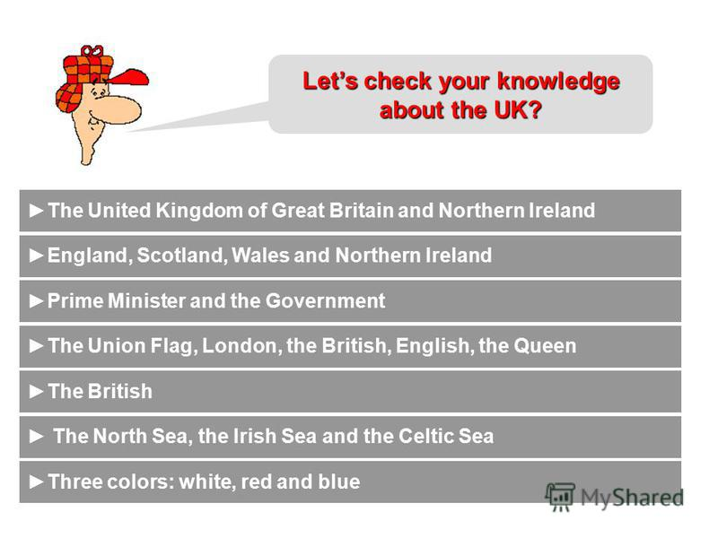 Which things unite people of the countries of the UK? What is the full official name of the country? By whom is the country ruled? What countries does the UK consist of? Lets check your knowledge about the UK? What is the nationality of the UK? Which