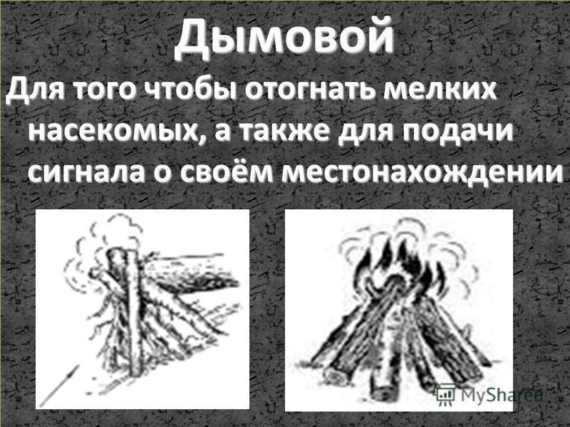 Дымовой Для того чтобы отогнать мелких насекомых, а также для подачи сигнала о своём местонахождении