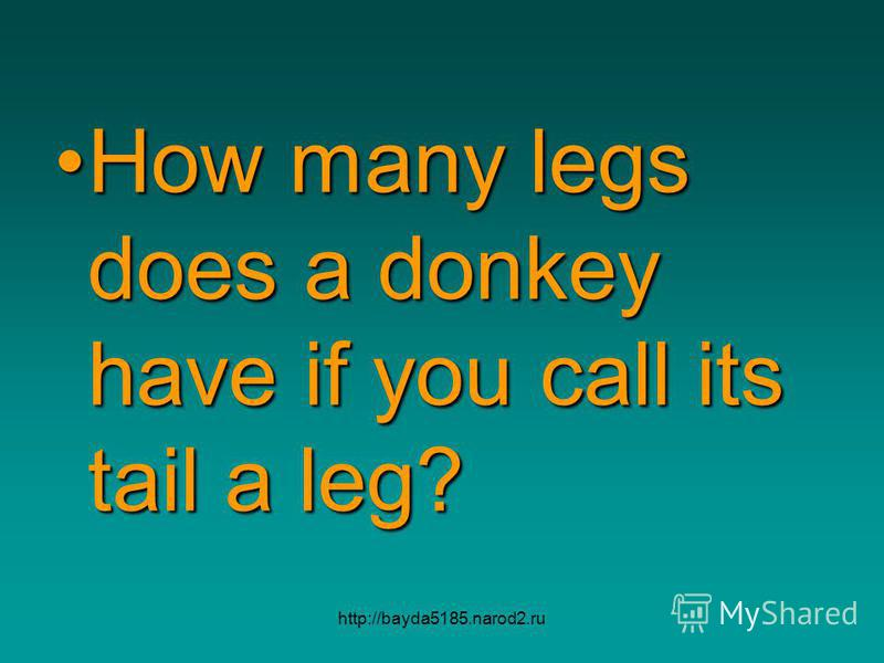 http://bayda5185.narod2.ru How many legs does a donkey have if you call its tail a leg?How many legs does a donkey have if you call its tail a leg?