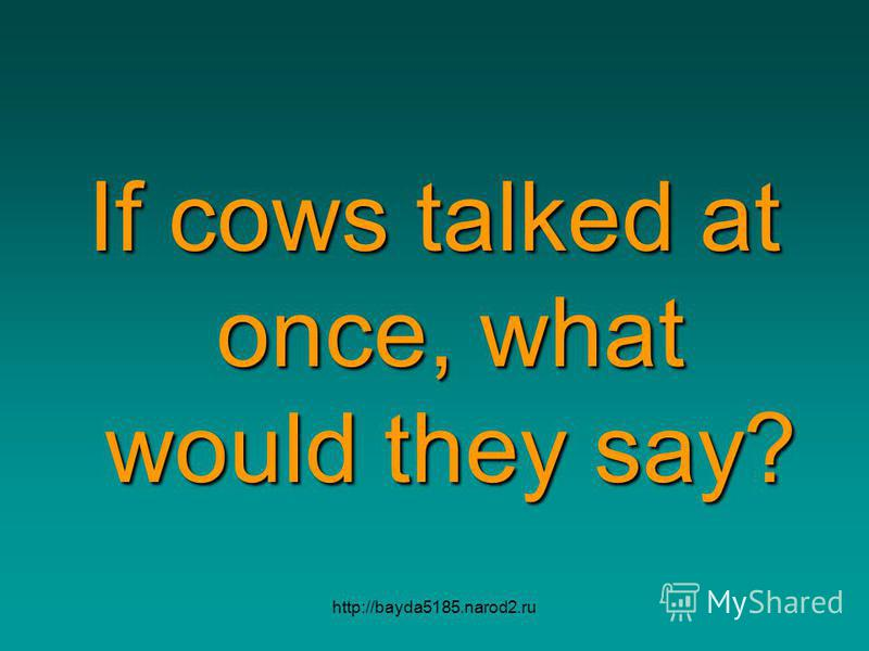 http://bayda5185.narod2.ru If cows talked at once, what would they say?