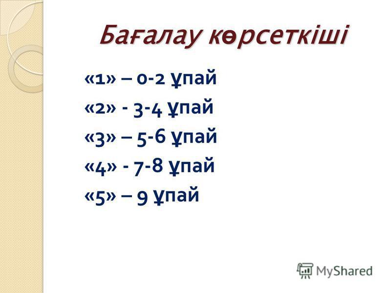 Бағалау к ө рсеткіші «1» – 0-2 ұ пай «2» - 3-4 ұ пай «3» – 5-6 ұ пай «4» - 7-8 ұ пай «5» – 9 ұ пай